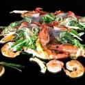 Cuisine Dietetique Plancha Crevettes Légumes et plantes aromatiques